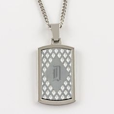 """Stainless Steel Pendant with Cut Out Design. This stainless steel pendant will look stylish around anyone's neck. Engrave the front and a special message on the back. It comes with a 24"""" chain."""