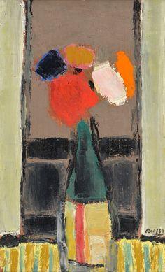 """RUSSO, Raúl Argentino 1912-1984 """"JARRON CON FLORES"""" Pintura al óleo sobre cartón. Firmada RUSSO abajo a la derecha. Medidas: 50 x 30 cm Galería PALATINA, Buenos Aires."""
