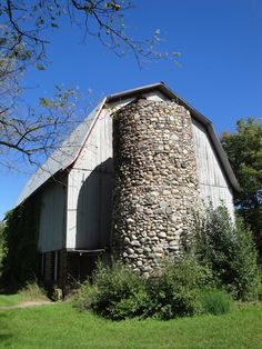 barn with stone silo located in Northport, Michigan.