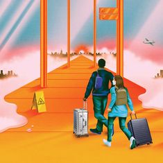 """Robert Beatty's campaign for Away depicts the """"sci-fi-like experience of travel amid a pandemic"""" Sci Fi, Campaign, Illustration, Holiday, Fun, Movie Posters, Travel, Design, Fin Fun"""