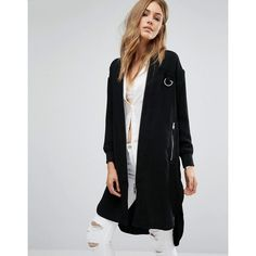 Mango Longline Twill Jacket ($121) ❤ liked on Polyvore featuring outerwear, jackets, black, longline jacket, mango jackets, twill bomber jacket, zip pocket jacket and bomber style jacket