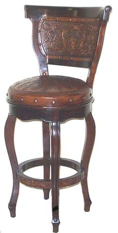 Heritage Barstool with Back  I am a sucker for hand tooled leather