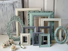 Mint Green, Gray and Cream Vintage Frame Set, Light Green and Cream Ornate Painted Frames, Set of 10 Frames, Cottage Chic, Shabby Chic