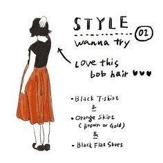 絶妙なカラーのスカートを探し中。zaraで見かけて迷ったけど生地が薄すぎて断念。 そろそろボブもいいなぁといつも思うスタイルです。 #illustration #fashionillustration #fashion #絵日記 #イラスト