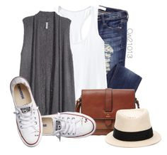 """Untitled #1630"" by cw21013 ❤ liked on Polyvore featuring Athleta, H&M, FOSSIL, Converse and Maison Michel"