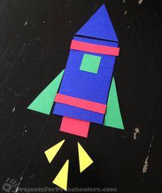 Captivating Outer Space Crafts for Kids that Are Truly Engaging Outer Space Crafts For Kids, Art For Kids, Space Preschool, Preschool Crafts, Rocket Ship Craft, Shape Crafts, Shape Art, Kindergarten Art, Art Lessons Elementary