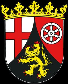 State of Rhineland-Palatinate (RP), Germany, Capital: Mainz Kaiserslautern, German Confederation, City Flags, Rhineland Palatinate, Banner, North Rhine Westphalia, Family Crest, Crests, Coat Of Arms