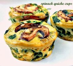 These were really really yummy. healthy and delicious SPINACH QUICHE CUPS Perfect for breakfast or brunch! don't overdo the spinach! Low Carb Recipes, Cooking Recipes, Healthy Recipes, Egg Recipes, Free Recipes, Recipies, Healthy Food, Muffin Recipes, Diabetic Recipes