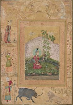 "From a detached folio page ""Humayun Seated in a Landscape, from the Late Shah Jahan Album http://www.asia.si.edu/collections/edan/object.php?q=fsg_S1986.400"