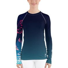 Women's Performance Rash Guard UPF 40+ Water Surf Swim Summer Pool Party, Rash Guard, Stretch Fabric, Victorious, Long Sleeve, Stretches, Sleeves, Swimwear, Mens Tops