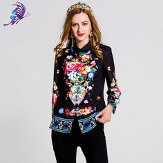 e4e8e109def1b4 ... print shirt, Buy Quality office tops directly from China blouse fashion  Suppliers: 2017 Spring Women Runway Blouse Fashion Long Sleeve Turn Down  Collar ...
