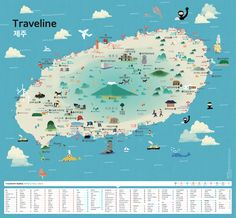 Map of Jeju Travel Maps, Asia Travel, App Map, Map Projects, Leaflet Design, Island Map, Jeju Island, Happy Design, Cartography