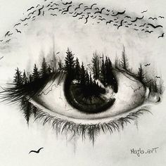 Intoxicating ink by @majla_art via @dailyartistiq #creative #technique #style #art #drawing #ink #pen #eye #forest #inspiration #design by canva