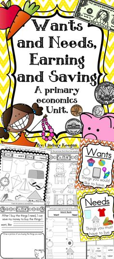 Wants and Needs, Earning and Saving - Perfect for your Needs and Wants Unit