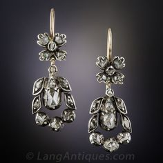 Antique Rose-Cut Diamond Earrings.  drops crafted in darkened silver over 9K rose gold and set with a glittering array of primitively cut rose-cut diamonds.