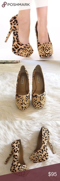 Steve Madden Leopard Studded Pumps Beautiful Steve Madden leopard studded pumps in excellent condition. Would be perfect for a party! Heel is 4 inches. No trades! Bundle & save 5%! 10fchdd Steve Madden Shoes Heels