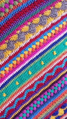 Stripey Blanket van de Crochet Along 2014… Prachtige deken van Lindevrouw