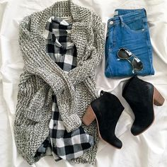 15 Cozy and Cute Winter Outfits You'll Love to Try - 📌 Jeans, Karohemd, Cardigan - Cute Winter Outfits, Fall Outfits, Casual Outfits, Cute Outfits, Winter Clothes, Winter Dresses, Christmas Outfit Women Casual, Black Outfits, Casual Attire