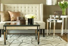 Harken back to old Hollywood with tufted slipper chairs, crystal-adorned chandeliers, and more decor. Mirrored accent pieces magically open up any room, and glossy nesting tables are prime drink-serving (and space-saving) spots. Feel like a star yet?http://www.wayfair.com/daily-sales/High-Glam-Home%3A-Accent-Furniture~E14069.html?refid=SBP.rBAZEVQ2vfhKyCKjJ2PaAhtJ0S0Qh04RriBD8XFFgo4