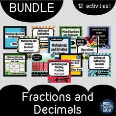 Fractions and Decimals Activity Bundle by Mrs E Teaches Math | Teachers Pay Teachers