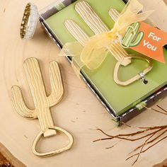 Gold metal Cactus themed bottle opener