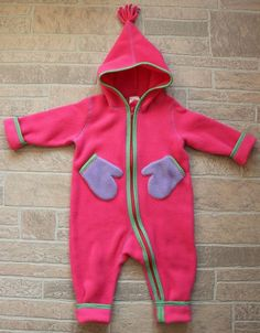 daa5f1cb7 Hanna Andersson Girls 80 US 2 Pink Fleece Bunting Zip Up Snowsuit Mittens