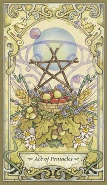 Ace of pentacles - strength & generosity. This very connected with earth and culmination. wealth in the form a new business venture or abundance in a form other than wealth.