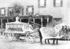 A horse-drawn hearse with driver, circa 1900. Courtesy Neil Regan Funeral Home  History. I'm sorry, but that horse looks like it's wearing a doily! lol