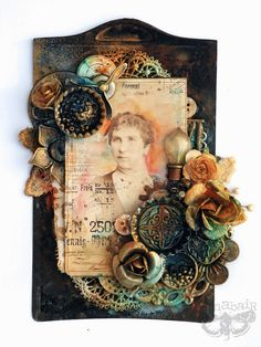 Rusted Beauty ~ Mixed media heritage project with an altered family photo cabinet card, dimensional flowers and gesso techniques. *Click on photo for complete Tutorial on how to make this gorgeous heritage art piece!