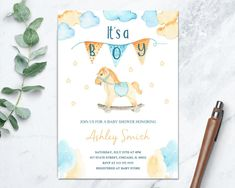 Its a Boy Baby Shower Printable Invitation With Wood Rocking Horse, Blue and Yellow Baby Invite, Toy Shower Invitation, Digital File by TDApartyonpaper on Etsy Wood Rocking Horse, Baby Shower Invitaciones, Baby Yellow, Baby Store, For Your Party, Baby Shower Printables, Printable Invitations, Baby Boy Shower, Printing Services