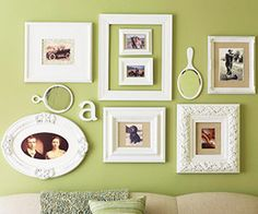 Mix frames of different sizes, shapes and weights ... then add unexpected items like the hand mirrors and craft letters.