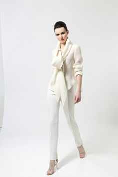 All white. Chado Ralph Rucci Pre-Fall 2013.