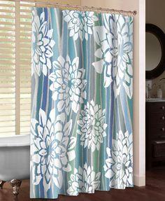 Striped Dahlias Shower Curtain – Laural Home