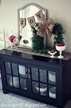 Love the square wreath! Simple & Festive Entranceway Decor--mirror w/mini burlap bunting, tabletop wreath, burlap table runner, and berries! Primitive Christmas, Noel Christmas, Merry Little Christmas, Winter Christmas, All Things Christmas, Christmas Crafts, Burlap Christmas, Christmas Entryway, Christmas Buffet