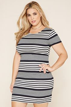 Forever 21+ - A striped stretch knit dress in a bodycon fit with short sleeves, a round neckline, and crisscross straps on its V-cut back.