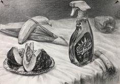 Still Life Sketch, Still Life Drawing, Drawing Sketches, Pencil Drawings, Charcoal Drawings, Sketching, Food Art, Watercolor, Painting