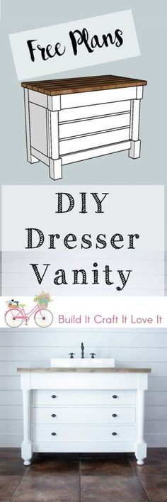 How to build a DIY dresser style bathroom vanity - free plans