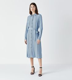 Viscose Crepe Printed Shirt Dress with Removable Waist Tie in Blue Midi Shirt Dress, London Fashion, Printed Shirts, New Dress, Clothes For Women, House Styles, Lady, Casual, Prints