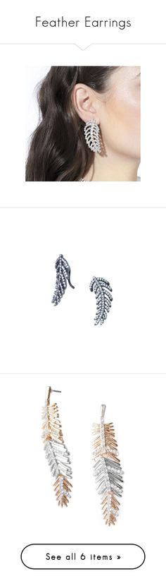 """""""Feather Earrings"""" by shopsmth on Polyvore featuring jewelry, earrings, earring jewelry, accessories, leaf earring, leaf jewelry, leaves earrings, leaf earrings and leaves jewelry"""