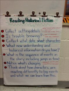 Historical fiction anchor chart Readers Workshop, Writing Workshop, Fiction Anchor Chart, Professor, Genre Study, Historical Fiction Books, Reading Anchor Charts, 5th Grade Reading, Common Core Reading