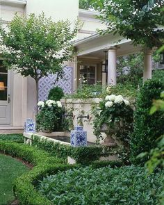 Both front yard and back lawn landscape design disagree in front portion of this home permits for your very first . Read Magnificent Landscaping Inspirations To Beautify Your Front Yard Boxwood Garden, Boxwood Hedge, Dwarf Boxwood, Potager Garden, White Planters, Big Planters, Porch Planter, White Vases, Formal Gardens