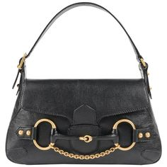 GUCCI A/W 2003 TOM FORD Black Genuine Leather Horsebit Shoulder Bag Purse | From a collection of rare vintage shoulder bags at https://www.1stdibs.com/fashion/handbags-purses-bags/shoulder-bags/
