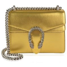Gucci Metallic Mini Chain Bag ($1,660) ❤ liked on Polyvore featuring bags, handbags, shoulder bags, oro, gucci purse, mini handbags, chain shoulder bag, chain strap purse and gucci handbags