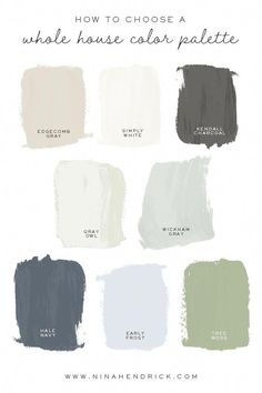 Demystify the process of choosing paint colors and other finishes by creating a cohesive Whole House Color Palette based on color theory and lighting. The post How to Choose a Whole House Color Palette appeared first on Mack Makeovers. Color Palette For Home, House Color Palettes, Coastal Color Palettes, Color Palette Gray, Exterior Color Palette, Paint Color Palettes, Interior Paint Colors, Paint Colors For Home, House Color Schemes Interior