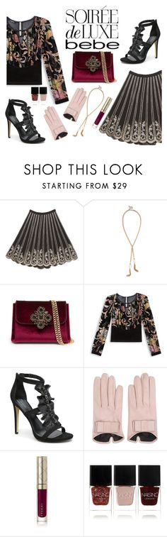 """Soirée de Luxe with bebe Holiday"" by ana3blue ❤ liked on Polyvore featuring Bebe, Mario Portolano, By Terry and Nails Inc."