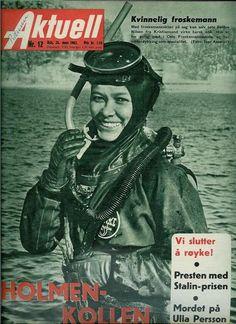 "Aktuell, 14th March 1962 (Norwegian news magazine). Headline: ""Female Frogman!"""
