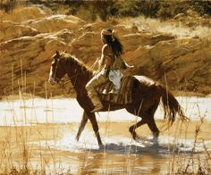 morgan weistling? native american art   ... The Captain's Horse American Apache Indian Westeern Art Canvas