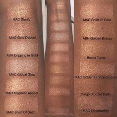 mac global glow on dark skin Makeup Swatches, Makeup Dupes, Makeup Cosmetics, Mac Makeup Looks, Love Makeup, Makeup 101, Makeup Trends, Make Up Looks, Pat Mcgrath