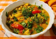 Brokkolis-csicseris curry   Eva Balazs (ízek és ízlések) receptje - Cookpad receptek Curry, Vegetables, Food, Red Peppers, Curries, Essen, Vegetable Recipes, Meals, Yemek