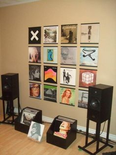 vinyl record frames records on walls